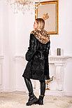 Женская шуба из натурального меха с леопардовым капюшоном, фото 5