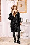 Женская шуба из натурального меха с леопардовым капюшоном, фото 6