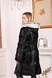 Длинная шуба из натурального меха с капюшоном под чернобурку, фото 4