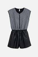 Комбинезон-шорты для девочек серо-черный, размер 122