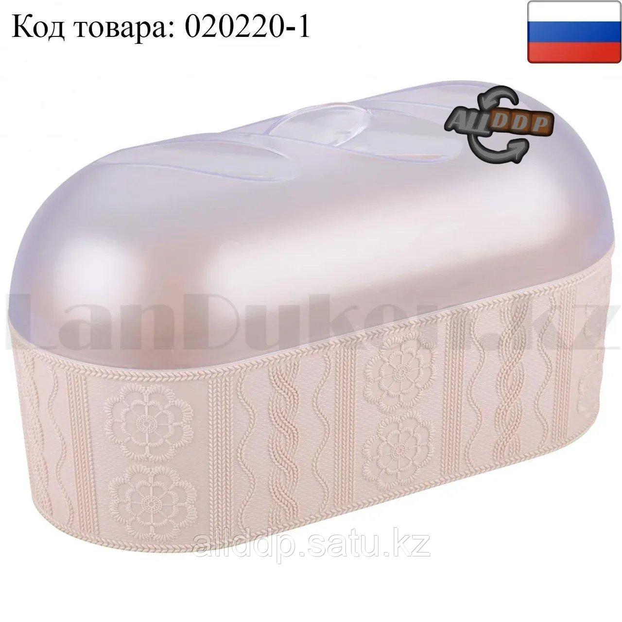 """Хлебница для хранения хлебобулочных изделий """"Меланж"""" пластиковая прозрачная крышка (розовая)"""