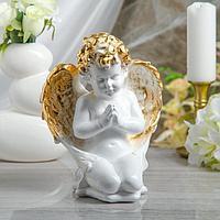 """Статуэтка """"Ангел молящийся на коленях"""" белая, 25 см"""