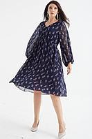 Женское осеннее шифоновое синее большого размера платье MALI 421-080 синий 48р.