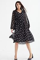 Женское осеннее шифоновое черное большого размера платье MALI 421-080 черный 48р.
