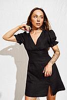 Женское летнее льняное черное платье Puella 3005 черный 40р.