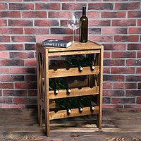 Стеллаж винный 'Прованс', 12 бутылок, цвет темный орех, 70х51х32 см, массив дуба