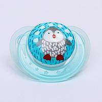 Соска-пустышка ортодонтическая, силикон, от 3 мес., «Пингвин», цвет голубой