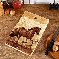 Доска из массива кедра 'Лошадь', прямоугольная, 18 x 28 см