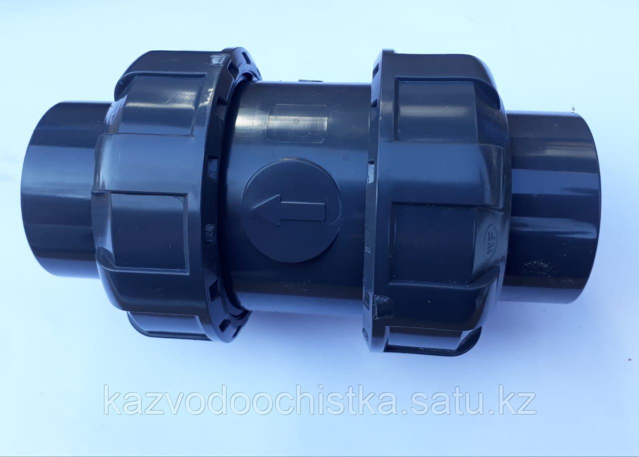 ПВХ Клапан обратный пружинный (socket true union check valve) 63 мм.