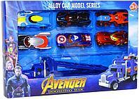 Немного помятая!!! 8643 Avenger Набор 6 машинок + 1 грузовик Alloycar Model 31*21см