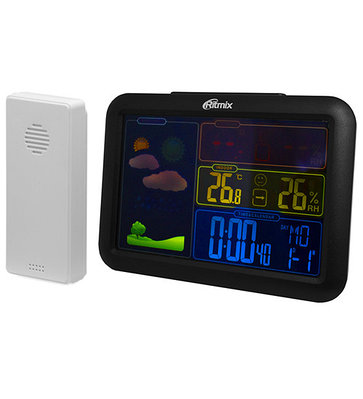 Weather station Ritmix CAT-340, color, +external sensor, 2x2xAAA (not included), black