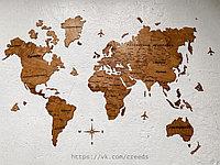Карта мира из дерева 160х85 / один слой, один цвет