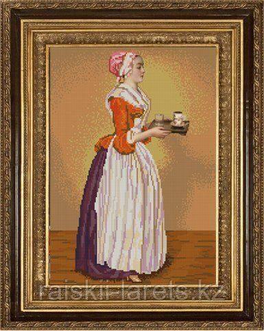 """Схема для вышивания бисером """"Прекрасная шоколадница"""" (Ж.Э.Лиотара)  НИК 9753 (без бисера)"""