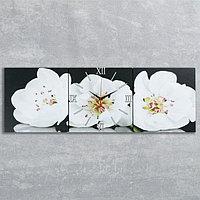 Часы настенные модульные «Белые орхидеи», 35 ×110 см