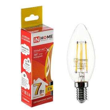 Лампа светодиодная IN HOME, С37, 7 Вт, Е14, 630 Лм, 3000 К, теплый белый, прозрачная