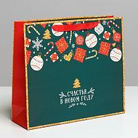Пакет ламинированный горизонтальный «Счастья в Новом году», M 30 × 26 × 9 см