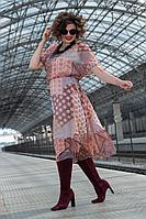 Женское летнее шифоновое коричневое нарядное большого размера платье Avanti Erika 1193-9 50р.