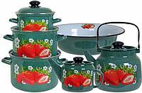 Набор посуды Лысьвенские эмали Сочная клубника 6 предметов цвет Изумруд