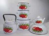 Набор посуды Лысьвенские эмали Сочная клубника 6 предметов цвет Белый