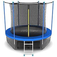 Батут EVO JUMP Internal, d=244 см, с териленовой сеткой и лестницей + нижняя сеть, цвет синий