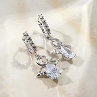 """Серьги со стразами """"Ангел"""" на кольце, цвет белый в серебре"""
