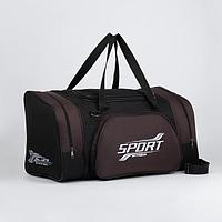 Сумка спортивная, отдел на молнии, наружный карман, длинный ремень, цвет чёрный/хаки