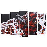 """Модульная картина """"Дэдпул. Карты"""" 125х80 см(2шт-25х63; 2шт-25х70; 25х80)"""