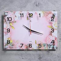 """Часы настенные """"Розовые цветы"""" 25х35 см, АА, плавный ход"""