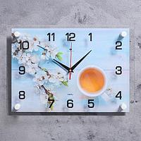 """Часы настенные """"Чай с цветами"""" 25х35 см, АА, плавный ход"""