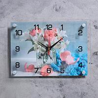 "Часы настенные ""Маленький букет"" 25х35 см, АА, плавный ход"