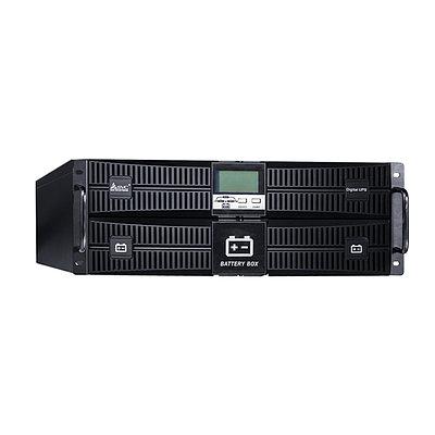 UPS SVC RT-6KL-LCD, 6000VA, 5400W, 16x12V/7Ah, 3 розетки IEC320 C19,AVR 110-288V, USB, RS-232, Black
