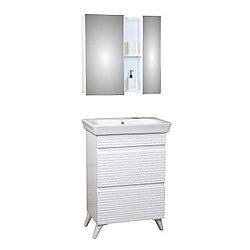 Комплект Тумба с умывальником и зеркалом для ванной «Аратон» 60 см.