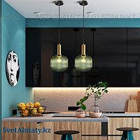 Дизайнерский светильник, Цвет латунь+зеленый, цоколь E27, фото 1