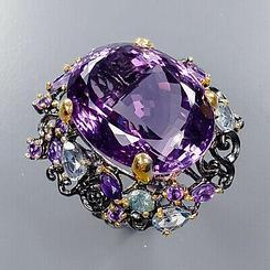 Роскошное кольцо с Натуральным Аметистом