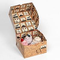 """Коробка складная, двухсторонняя """"Печати почтовые"""" 16 х 16 х 10 см"""