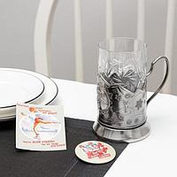 Подарочный набор для чая 'Зимние виды спорта Фигурное катание', 4 шт подстаканник, стакан, открытка, значок,