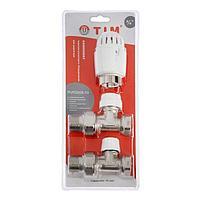 Комплект термостатический TIM RVKD508.03, для радиатора, прямой, 3/4'