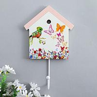 """Крючок декоративный дерево домик """"Цветы, птенчик и бабочки"""" 22,5х13,8х4,5 см"""