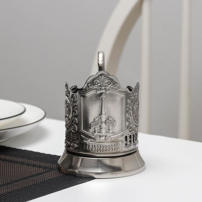 Подстаканник 'Екатеринбург', никелированный, с чернением - фото 2