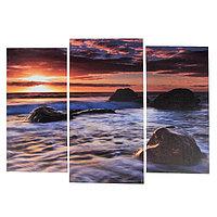 Модульная картина 'Камни в море' (2-25х52 1-30х60) 60х80 см