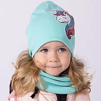 Двухслойная шапка, цвет мята/принт единорог, размер 54-58