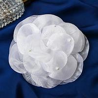 Резинка для волос бант 'Школьница' роза крупные лепестки, белый