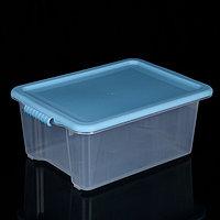 Контейнер для хранения с крышкой Porter, 14 л, 44x31,5x18 см, цвет васильковый