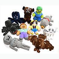 Набор мягких игрушек и 10 персонажей майнкрафта (Minecraft)