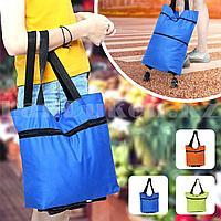 Складная сумка тележка текстильная на 2 колесах с регулируемой длинной трансформер в ассортименте