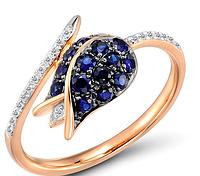 Женское золотое кольцо с бриллиантами и сапфирами