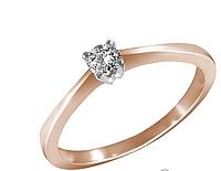 Золотое кольцо с бриллиантом 0,10 карат