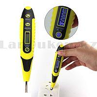 Отвертка индикатор напряжения 140 см, 12-220 В цифровая профилированная рукоятка с дисплеем желтая 7013
