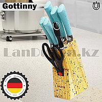 Набор ножей Gottinny 5 штук ножницы и точилка на магнитной подставке G-151 голубые