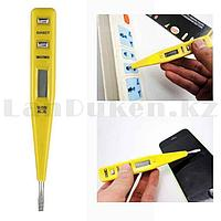 Отвертка индикатор напряжения 130 см, 12-220 В цифровая профилированная рукоятка с дисплеем желтая MD 7017